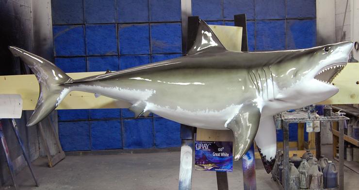 Great White Shark Fish Replica Mounted Shark