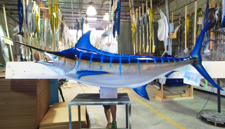 Blue Marlin Fish Replica Mounted Blue Marlin