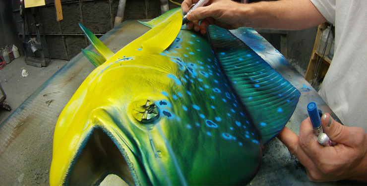 Dolphinfish replica painted at Gray Taxidermy