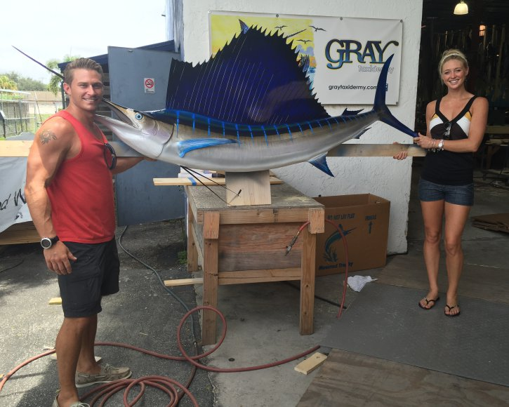 Couple with Sailfish from Gray Taxidermy