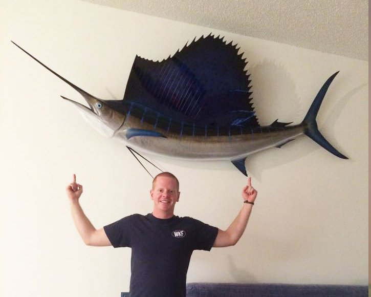 Happy customer from Gray Taxidermy with his sailfish